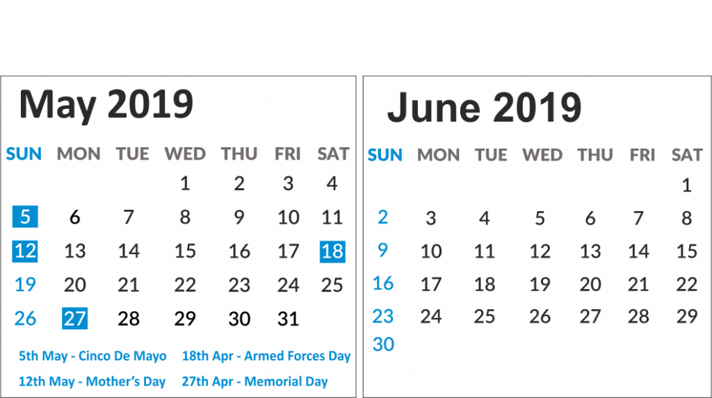 May & June 2019 Printable Calendar