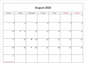 2020 August Calendar With Holidays