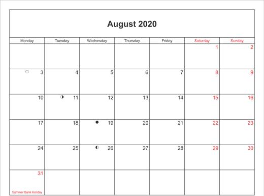 2020 August Calendar With Holidays