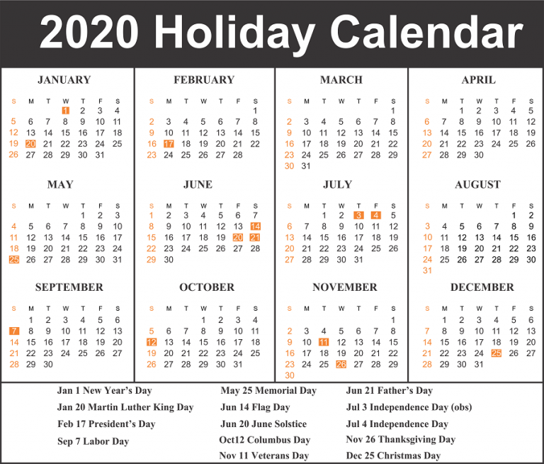 photograph relating to Calendar With Holidays Printable identify Cost-free Blank Printable Calendar 2020 Template in just PDF, Excel