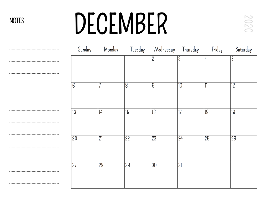 2020 December Calendar with Notes