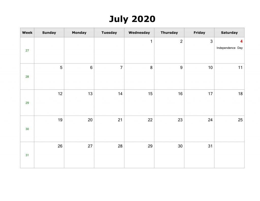 2020 July Calendar Excel