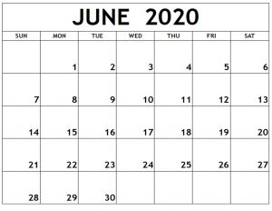 2020 June Calendar PDF