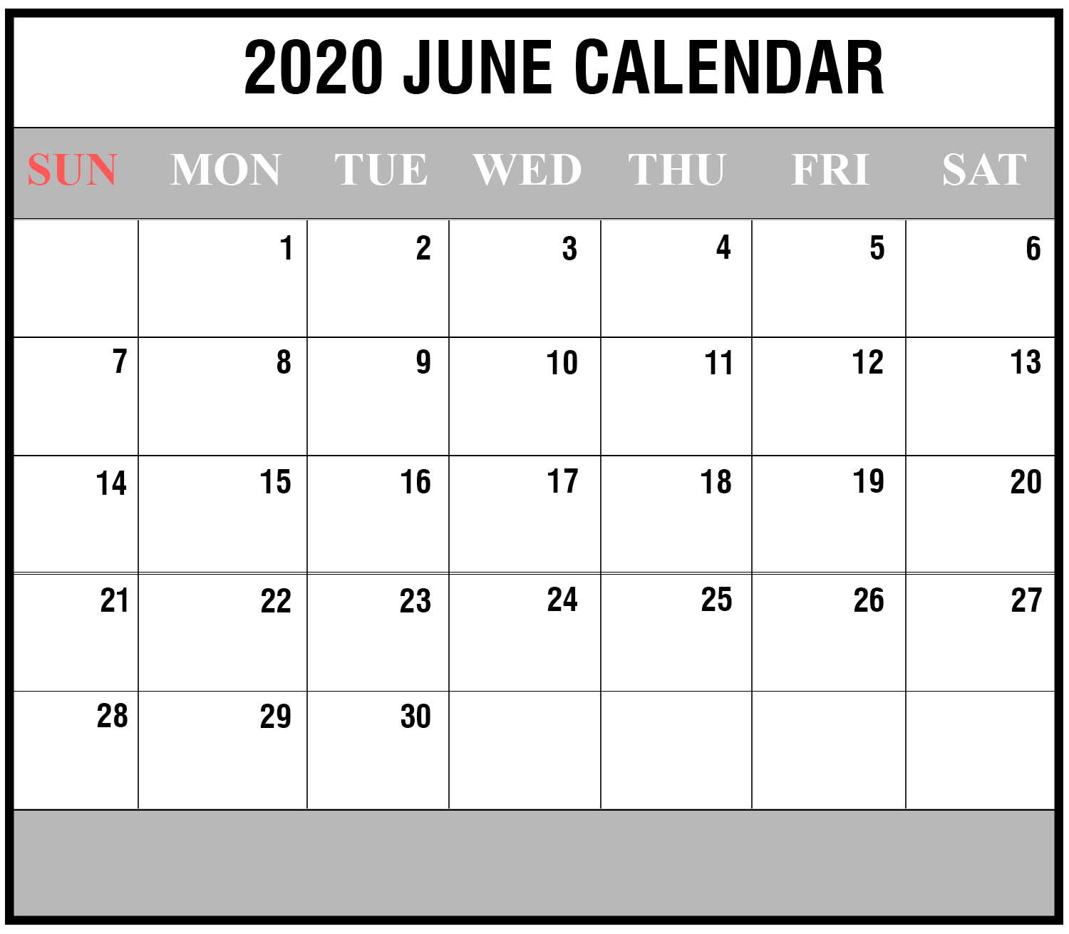 2020 June Portrait Calendar Template