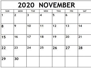 2020 November Blank Calendar