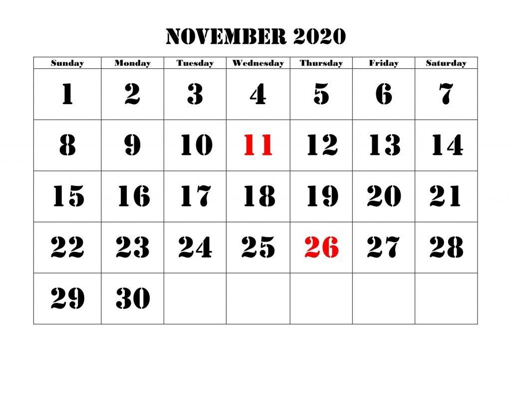 2020 November Calendar Printable
