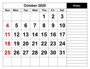 2020 October Calendar Printable in PDF