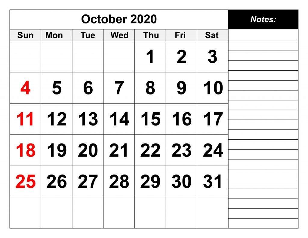 2020 October Calendar Printable in PDF