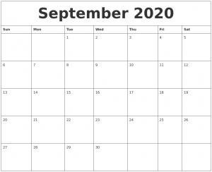 2020 September Calendar for Students