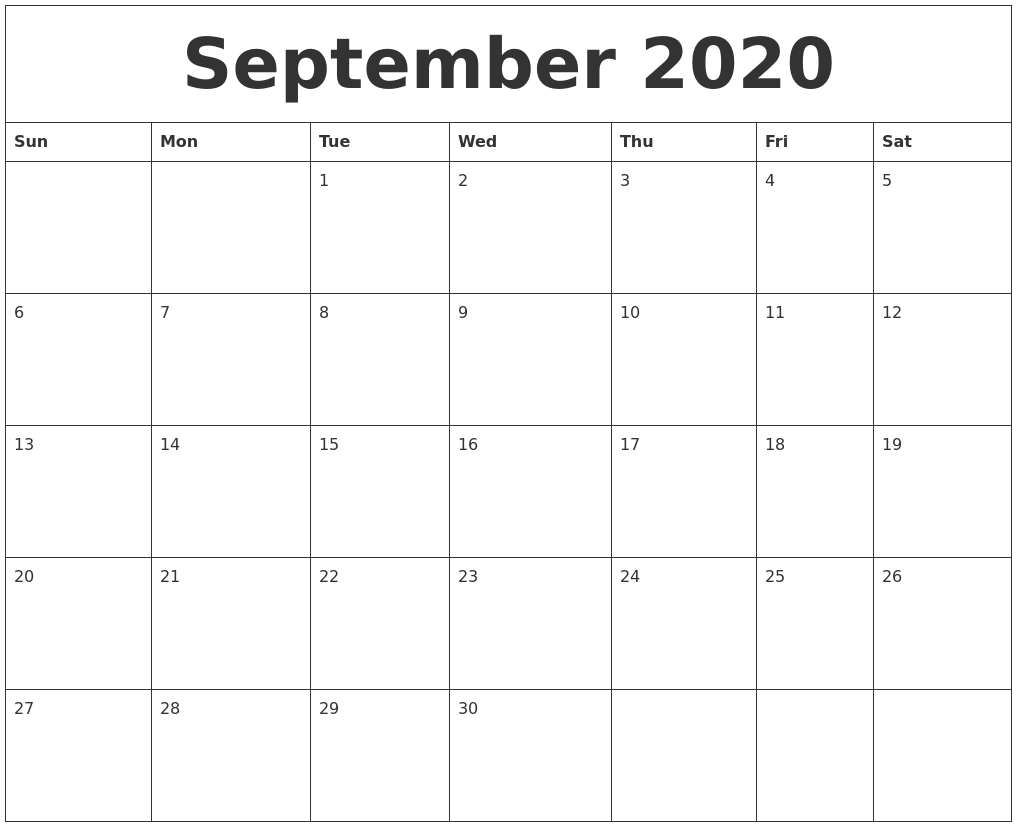 2020 September Calendar for Students