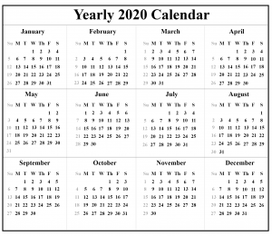2020 Blank Holiday Calendar Template
