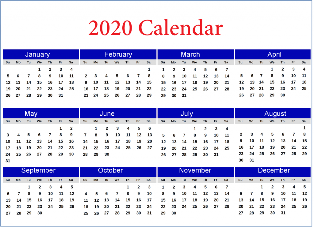 Printable Calendar 2020 by Month
