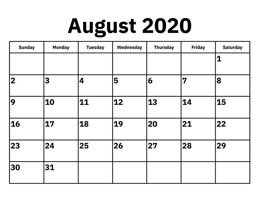 August Calendar 2020 Word