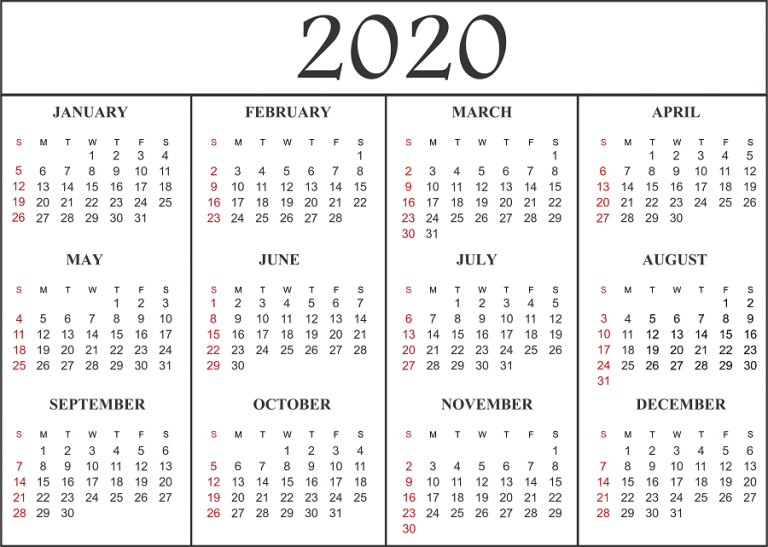 Free Printable 2020 Monthly Calendar.Free Blank Printable Calendar 2020 Template In Pdf Excel Word