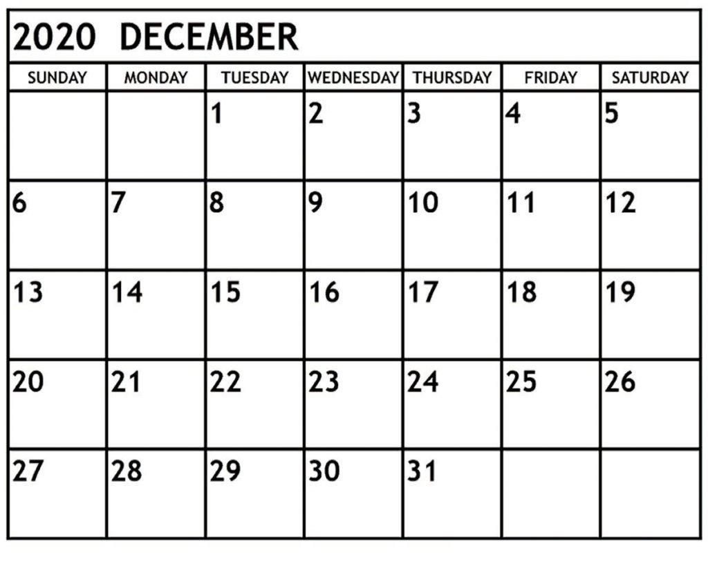 December 2020 Blank Calendar