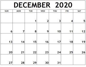 December 2020 Calendar Printable