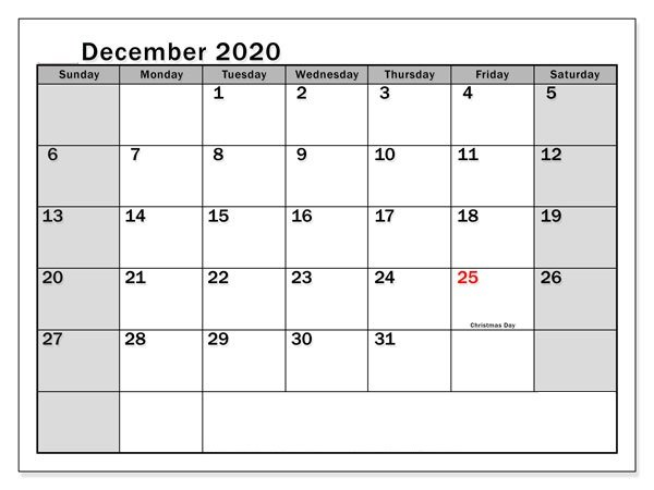 December Calendar 2020 Template for Students