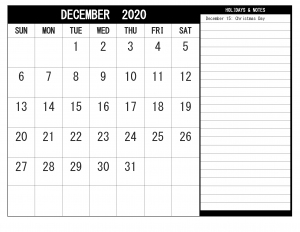 December Calendar Template in PDF, Word & Excel