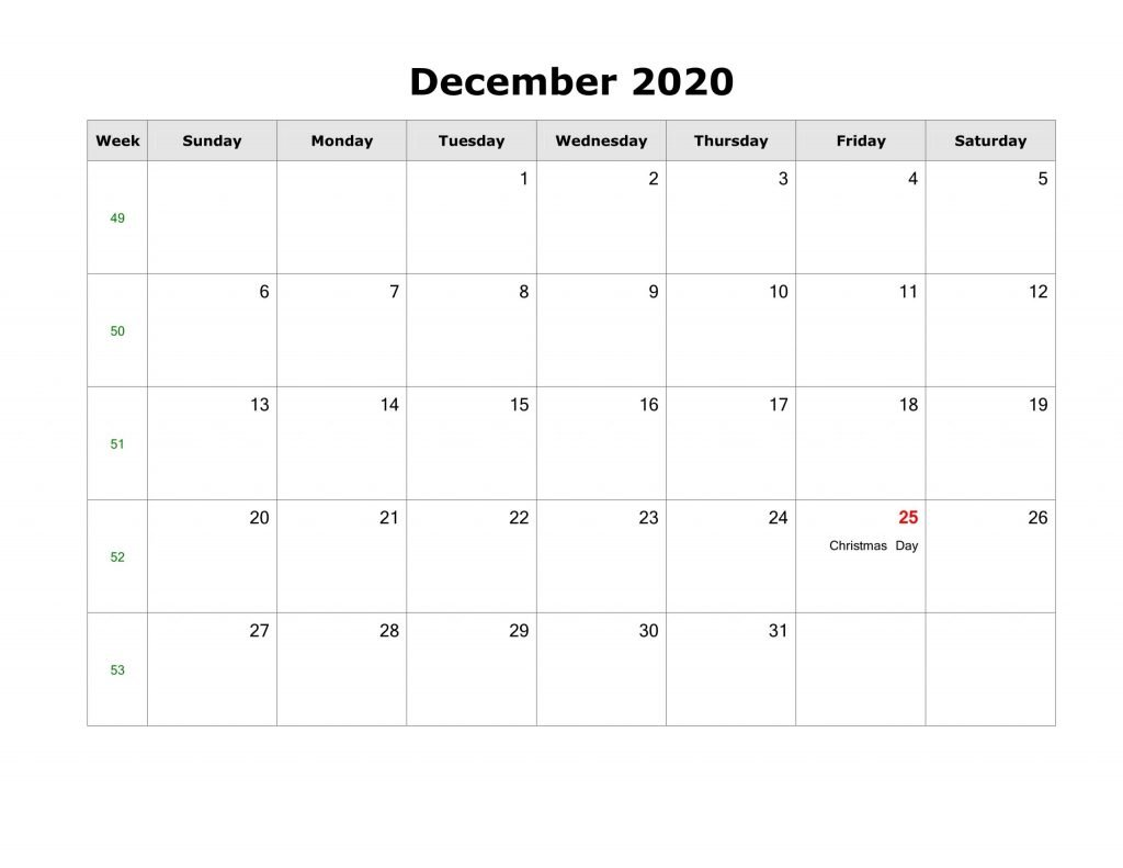 Free December 2020 Calendar With Holidays