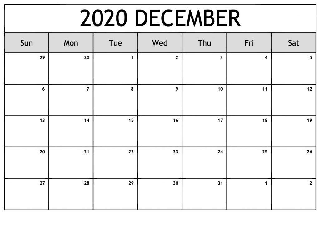 Free December 2020 Printable Calendar