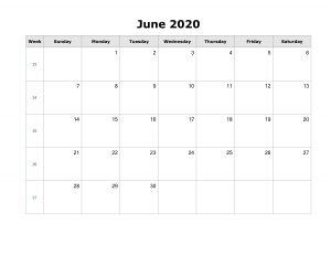 Free June 2020 Calendar Landscape