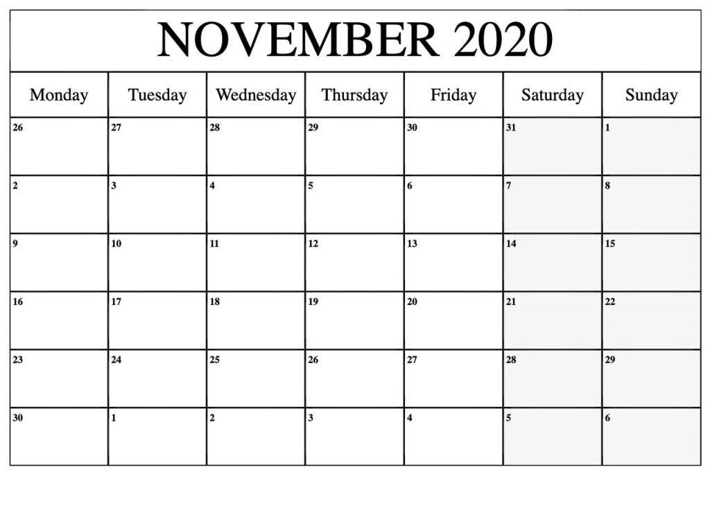 Free November 2020 Calendar Blank
