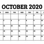 Free October 2020 Printable Calendar Template