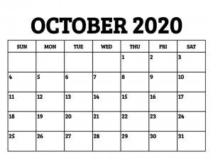 Free October 2020 Printable Calendar Template