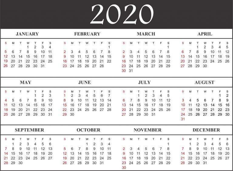 Blank Monthly Calendar 2020.Free Blank Printable Calendar 2020 Template In Pdf Excel Word