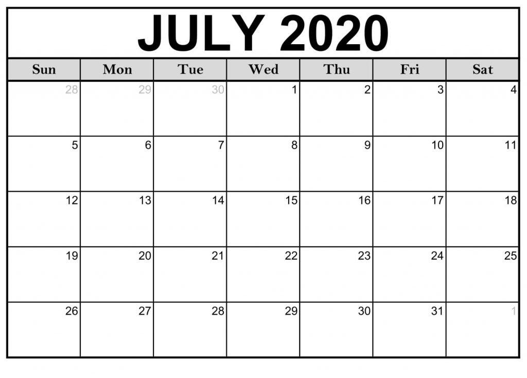 July 2020 Blank Calendar