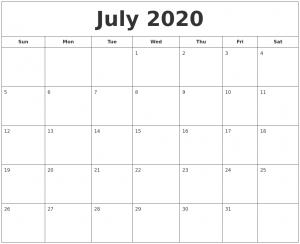 July Calendar 2020 Template