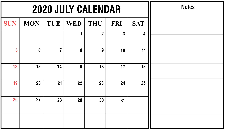 July Calendar 2020 Word