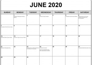 June 2020 Calendar With Holiday