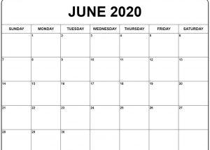 June Printable Calendar 2020