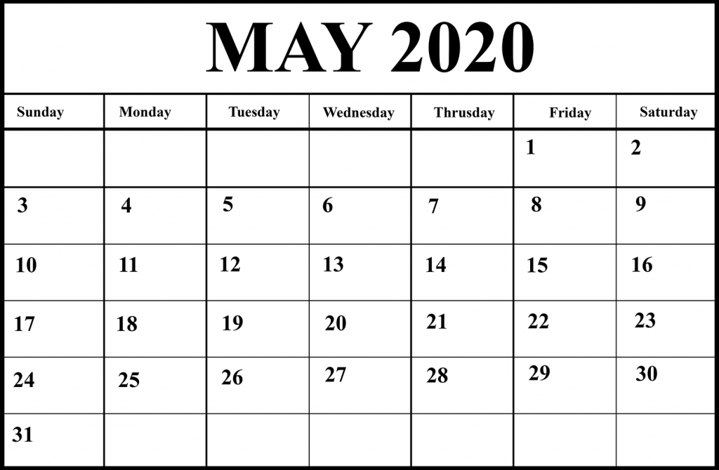 Blank May 2020 Calendar Printable in PDF, Word, Excel