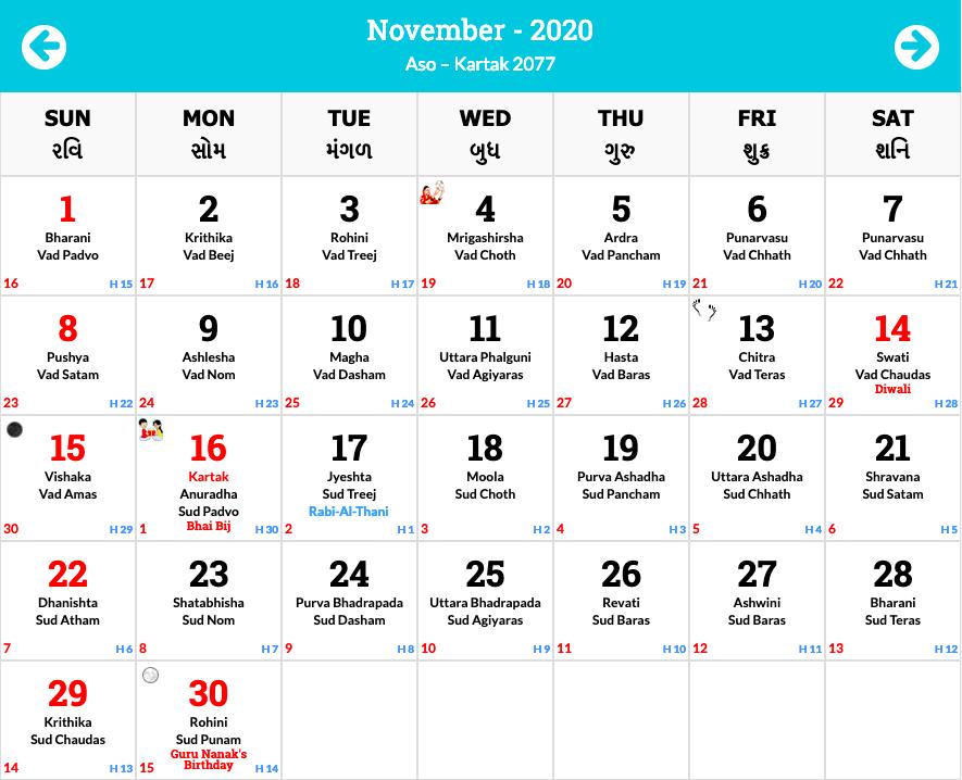 Hindu Calendar 2020