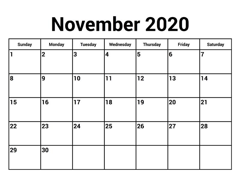 Free November 2020 Printable Calendar Template