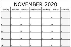 November 2020 Calendar Printable with Notes