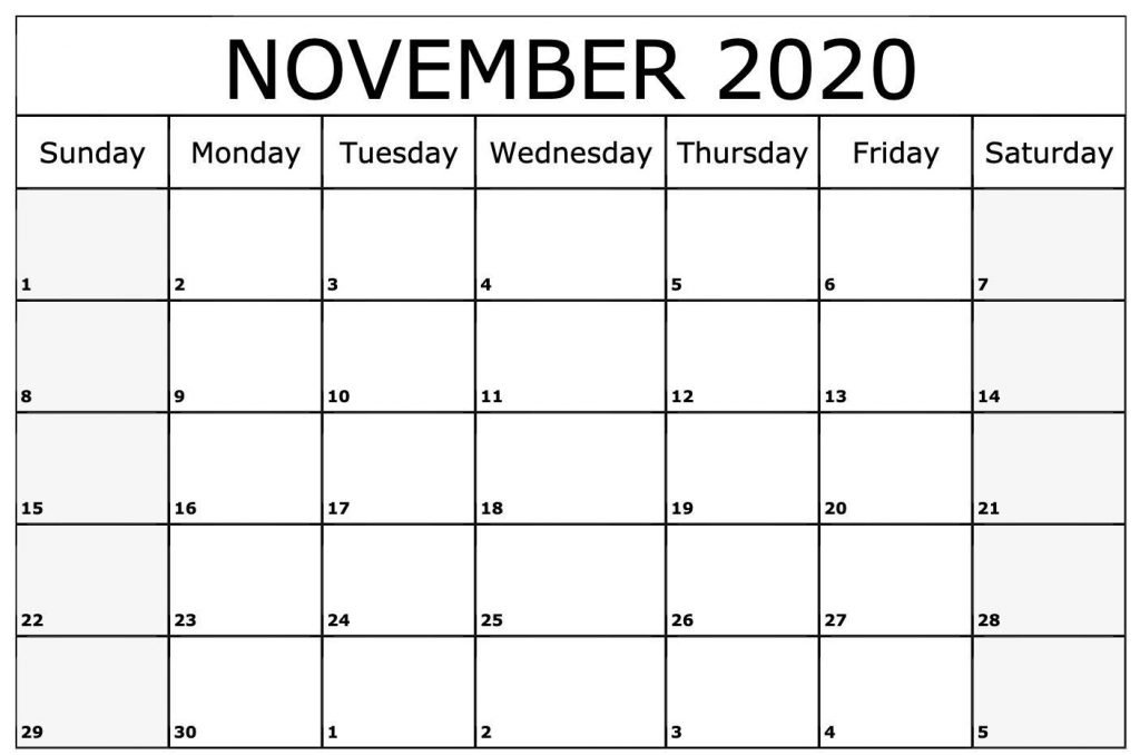 November 2020 Calendar Printable with Notes