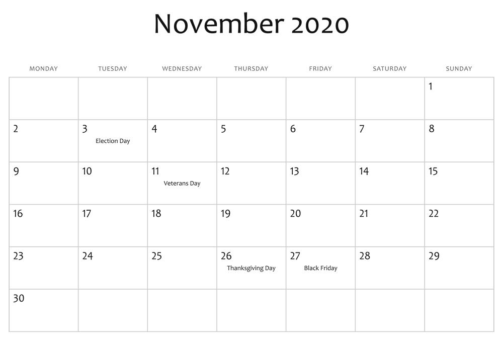 November Calendar 2020 PDF