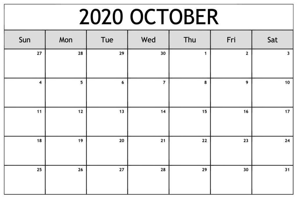 October 2020 Blank Calendar