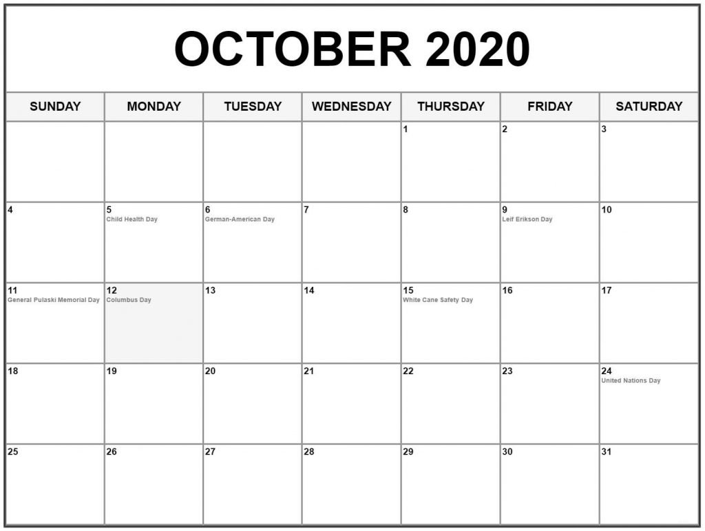 October 2020 Holiday Calendar