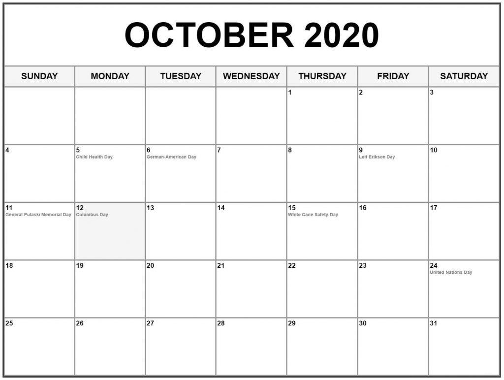 October 2020 Holiday Calendar