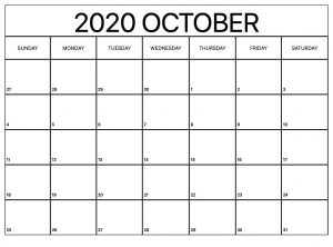 October Calendar 2020 Template in Excel & word
