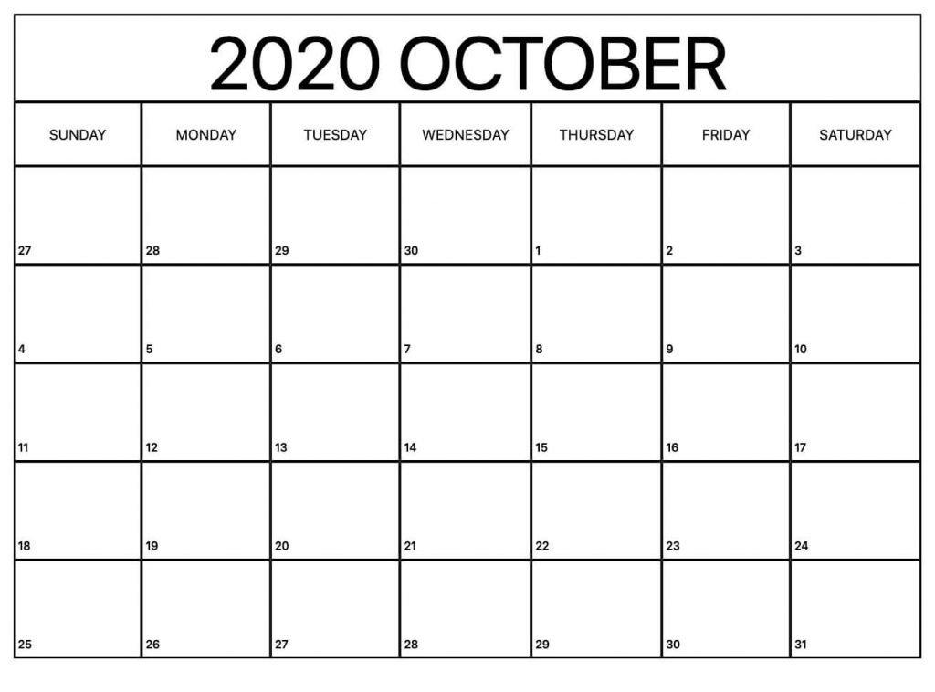 October Calendar 2020 Template in Excel & word