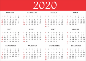 Printable Calendars 2020 by Month