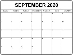 Free September 2020 Printable Calendar Template