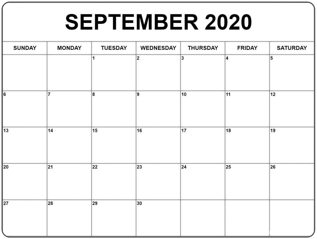 Free September 2020 Printable Calendar Template