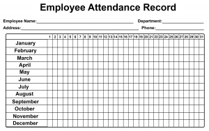Employee Attendance Tracker Sheet 2019