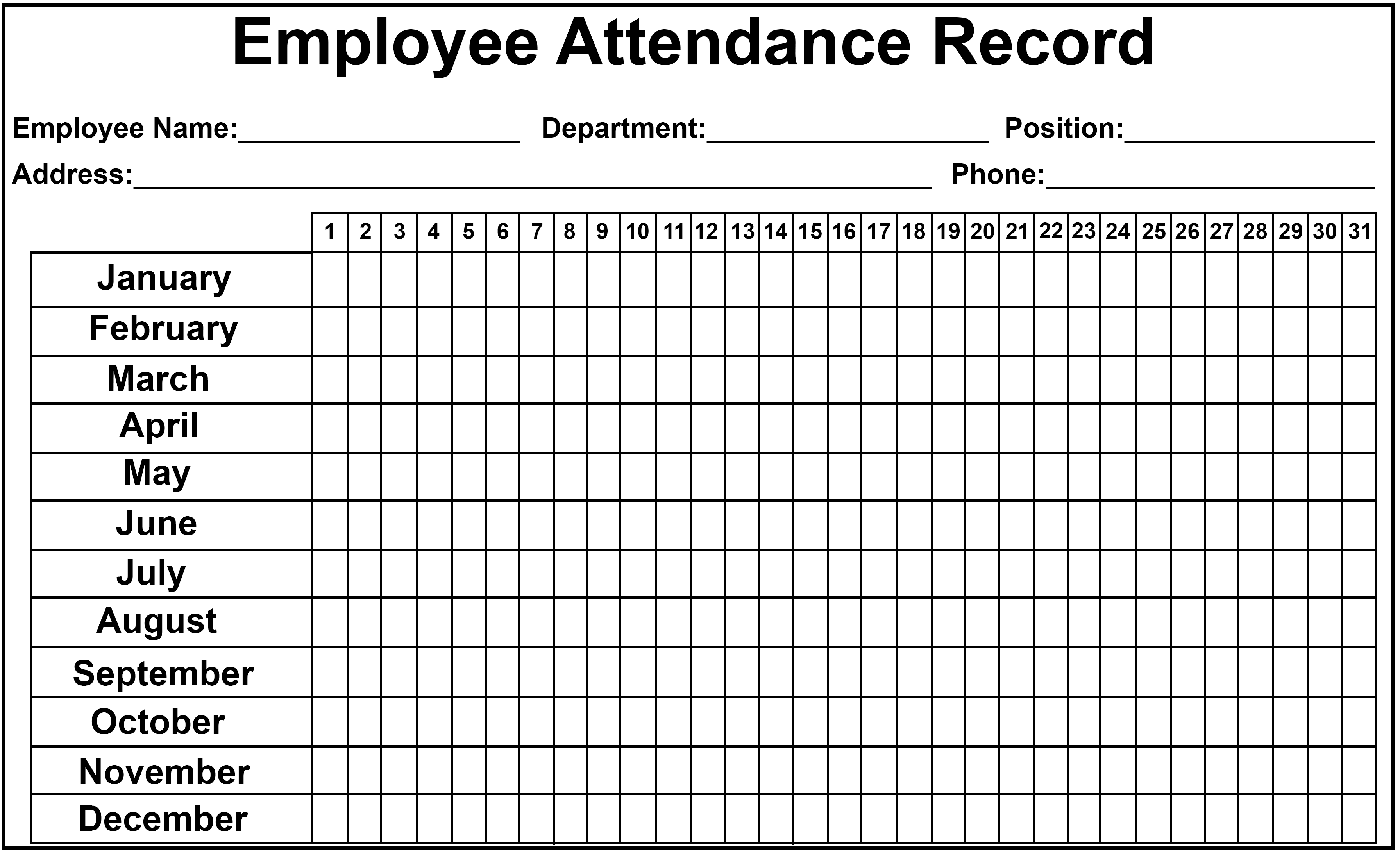 picture relating to Attendance Sheet Printable referred to as Personnel Attendance Tracker Sheet 2019 Printable Calendar Do-it-yourself